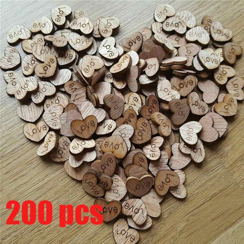 200Pcs Wooden Love Heart Slice Discs Wedding Party Table Scatter Decor DIY Craft