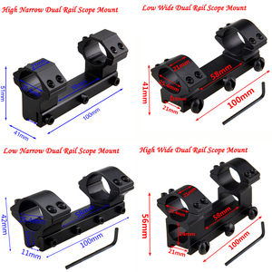 Dual Rail High Low Wide Narrow Ring Tactical Scope Dovetail Mount Rifle Optical Sight Bracket Scope Mount Adapter+With Hex Wren(China)