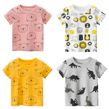 Children T-shirt for Boy 2020 Animal Print Dinosaur Boys T Shirt for Girls Tops Cartoon Kids t shirt Clothes 5-14 Yrs kids t shirt funny boys clothes cartoon game print t shirt costume boys t shirt girls summer kids clothes t shirt children shirt