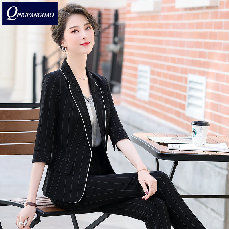 2020 spring and summer new fashion striped small suit women's seven sleeves thin thin casual jacket