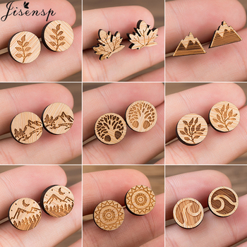 Jisensp Bohemia Vintage Wooden Earrings for Women Jewelry Leaf Wave Snow Mountain Small Earings Piercing pendientes 2021 - discount item  20% OFF Fashion Jewelry