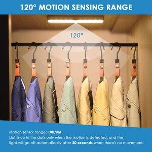 Image 4 - 3 צבע מצבים 20 LED אלחוטי PIR חיישן תנועת לילה אור תחת קבינט אור USB נטענת מגנטי מקל על הלילה אור