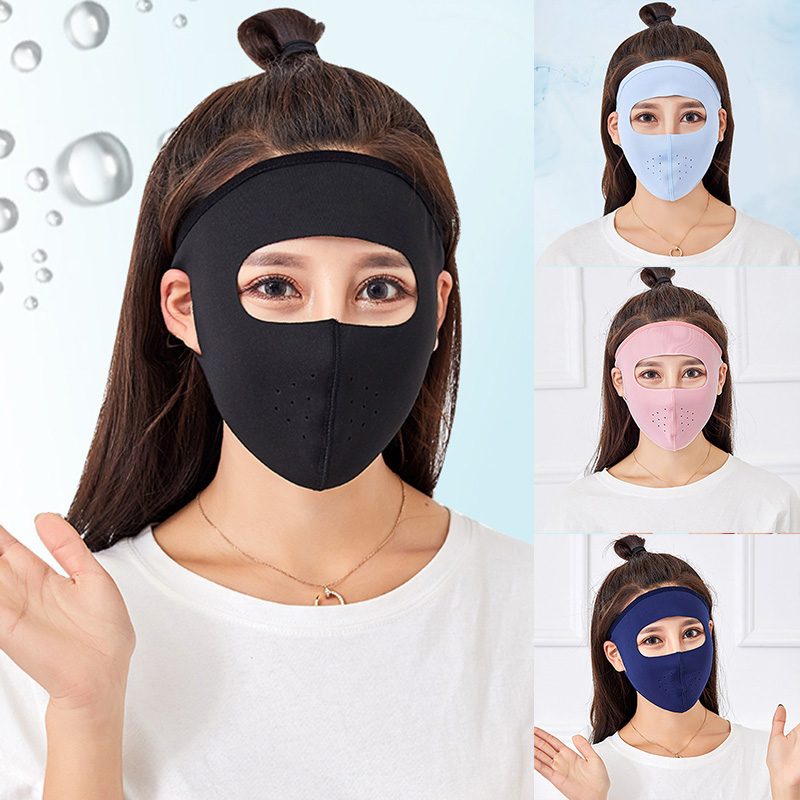 Hot 2pcs Female Sunscreen Women Ladies Girls Men Mask Ices Silk Thin Breathable Anti-UV Full Face Mask Hot Sales New Arrival  K2