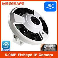 Mseesafe 6 uds Array Led infrarrojos 5MP IP cámara de ojo de pez de 180 grados de visión diurna y nocturna CCTV de seguridad OEM con Audio función opcional