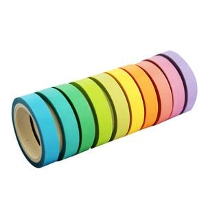 10 Pcs/box Rainbow Solid Color Japanese Masking Washi Sticky Paper Tape Adhesive Printing DIY Scrapbooking Deco Washi Tape Lot