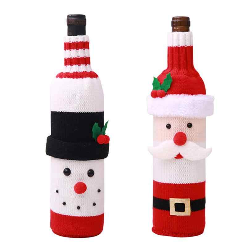 Santa Claus Snowman Wine Bottle Cover Wrapper Christmas Dinner Home Decor