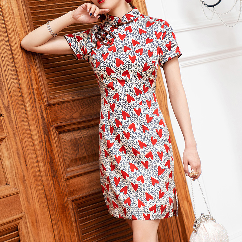 Manufacturers Direct Selling New Cheongsam Improved Dress Women's Chinese-style Printed Short Summer 2019 New Style 19300