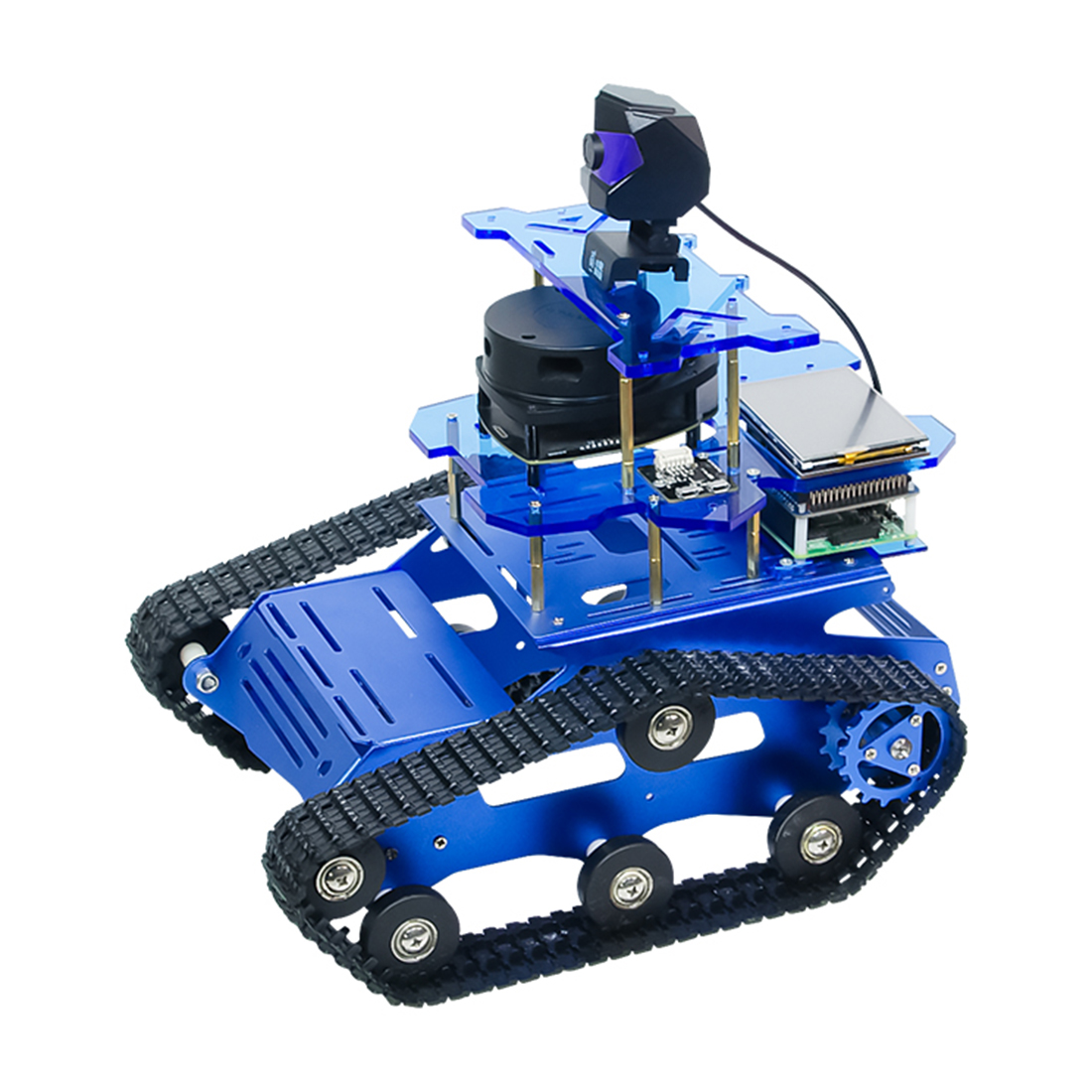 DIY Smart Robot Tank Chassis Car with Laser Radar for Raspberry Pi 4 (2G) for boys kids birthdaty gifts 2020 - Blue