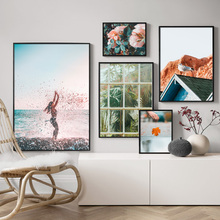 Wall Art Canvas Painting Rose Leaves Plant Bird Surfing Girl Nordic Posters And Prints Landscape Pictures For Living Room