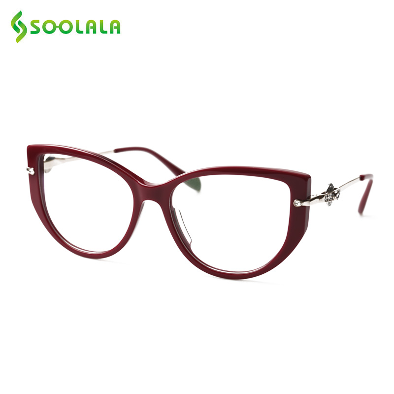 SOOLALA High End Anti Blue Light Cat Eye Reading Glasses with Rhinestones Presbyopia Glasses Frame w/ Gift Pack +0.5 to 5.0 6.0