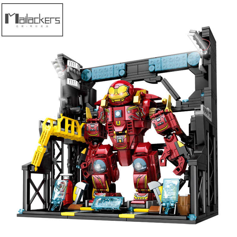 Movie Super Hero Iron Man Figures Hall of Armor Creator Expert Building Blocks Bricks Idea Educational Toys For Children Gifts