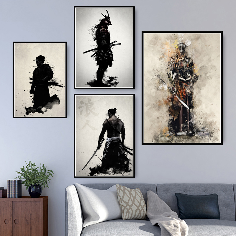 Wall Artwork Painting Home Decoration Armored Samurai Japan Anime Canvas Prints Pictures Modular Nordic Poster For Living Room(China)