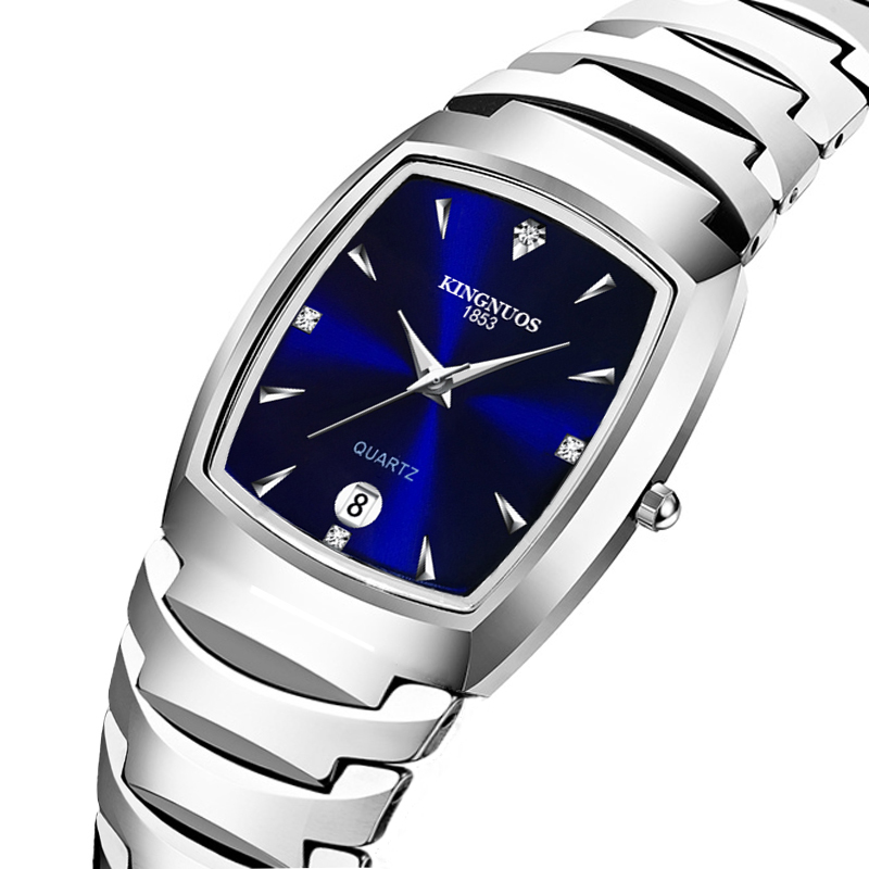KINGNUOS High-end fashion casual couple calendar week display quartz steel belt men's watch ladies watch 1