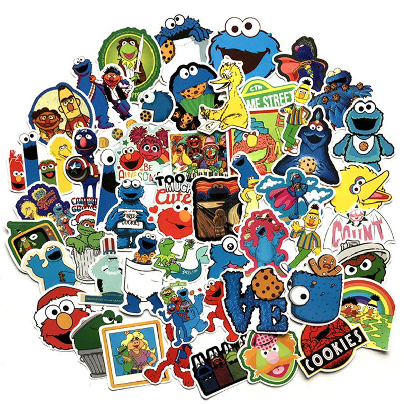 50 Pcs American Animation Sesame Street Cartoon Sticker For Bike Motorcycle Phone Laptop Luggage Funny Sticker Bomb Decals F3