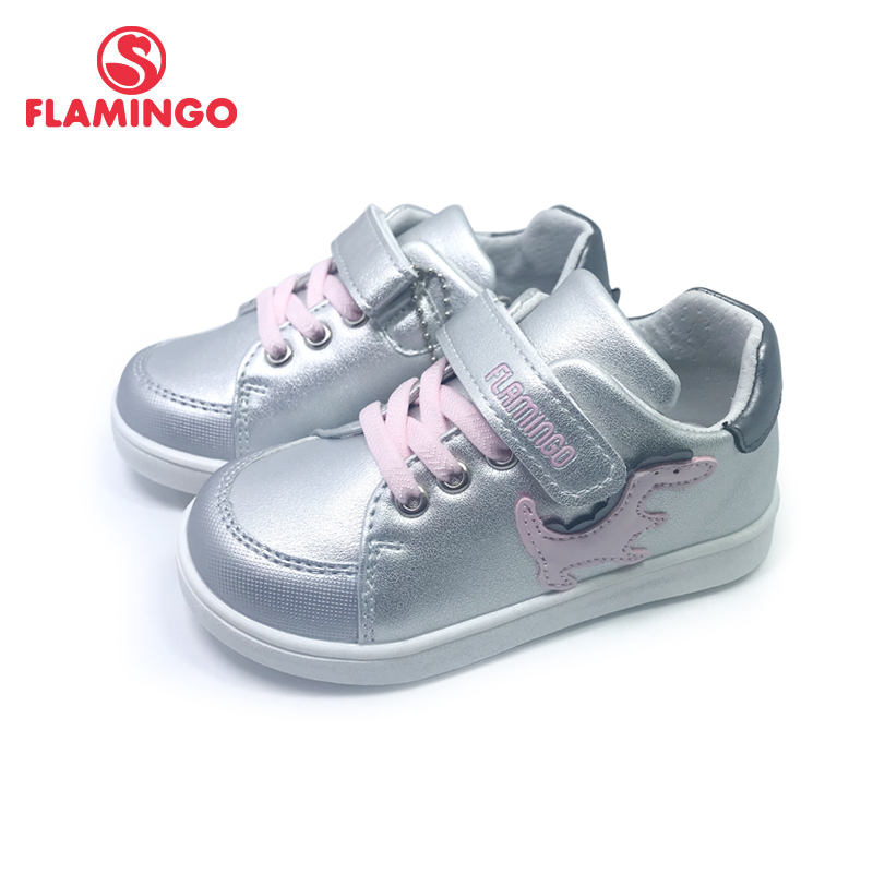 FLAMINGO  Print Spring Genuine Leather Breathable Hook& Loop Outdoor Sneakers For Girl Size 22-27 Free Shipping 201P-SW-1782