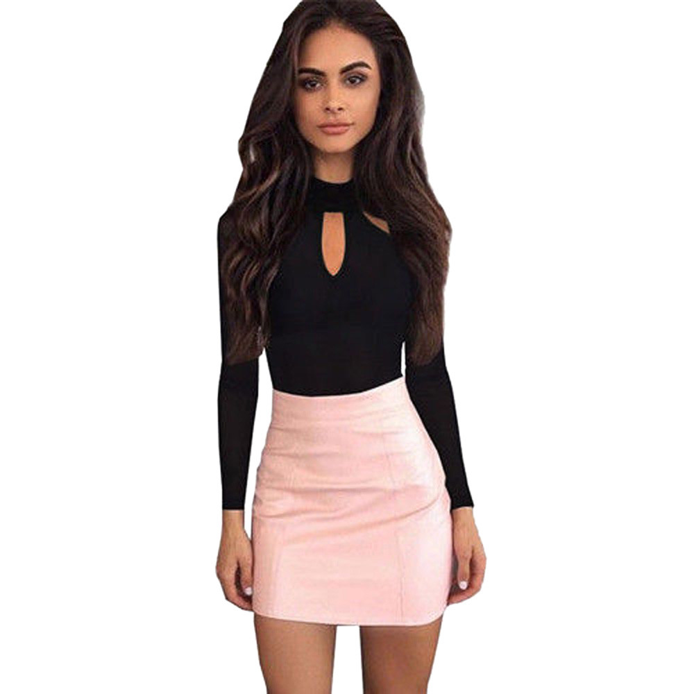 Womens Bodysuits  Playsuits Jumpsuits Rompers Sexy O Neck Long Sleeve Hollow Out Clubwear Black female clothes