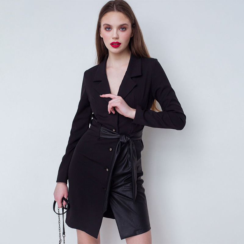 Women Casual Leather Patchwork Front Button A-Line Sashes  Dress V-Collar Long Sleeve Mini Party Dress 2020 New  Spring Dress