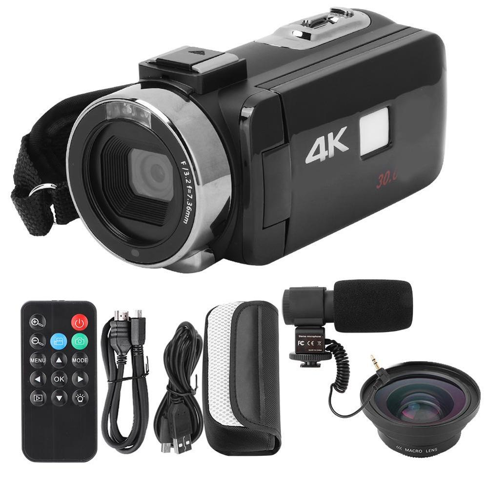 3 inch 4K HD Video Camera Wi-Fi Night Vision 16x Zoom Ultra-hd Touch Screen Digital Camcorder Camera Set with Remote Control image