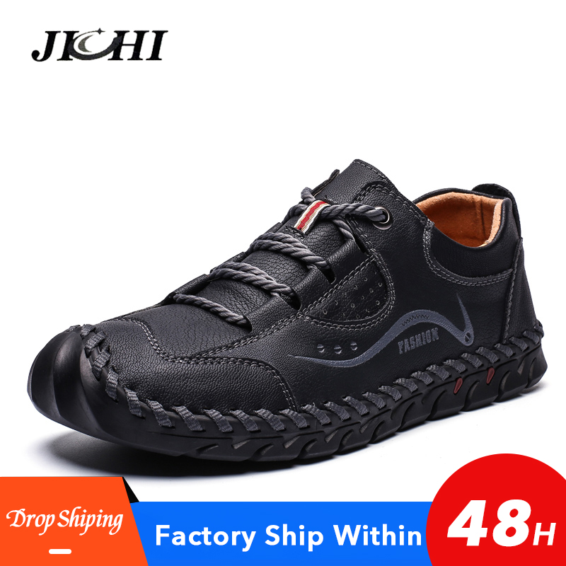 High Quality Men Shoes Leather Mens Shoes Casual Classic Lightweight Casual Leather Shoes Men Comfortable Summer Big Size38-48
