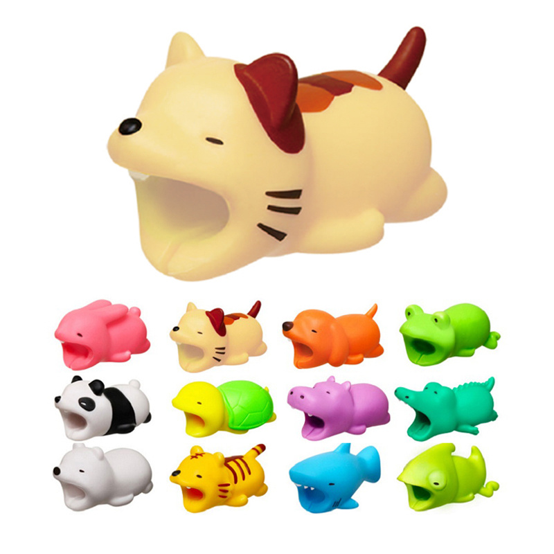 USB Cable Bite Animal Protect Organizer Wire Protector Winder For IPhone 7 8 X Plus Wholesale Bear Tiger Dog Pig Cat Lion Shark