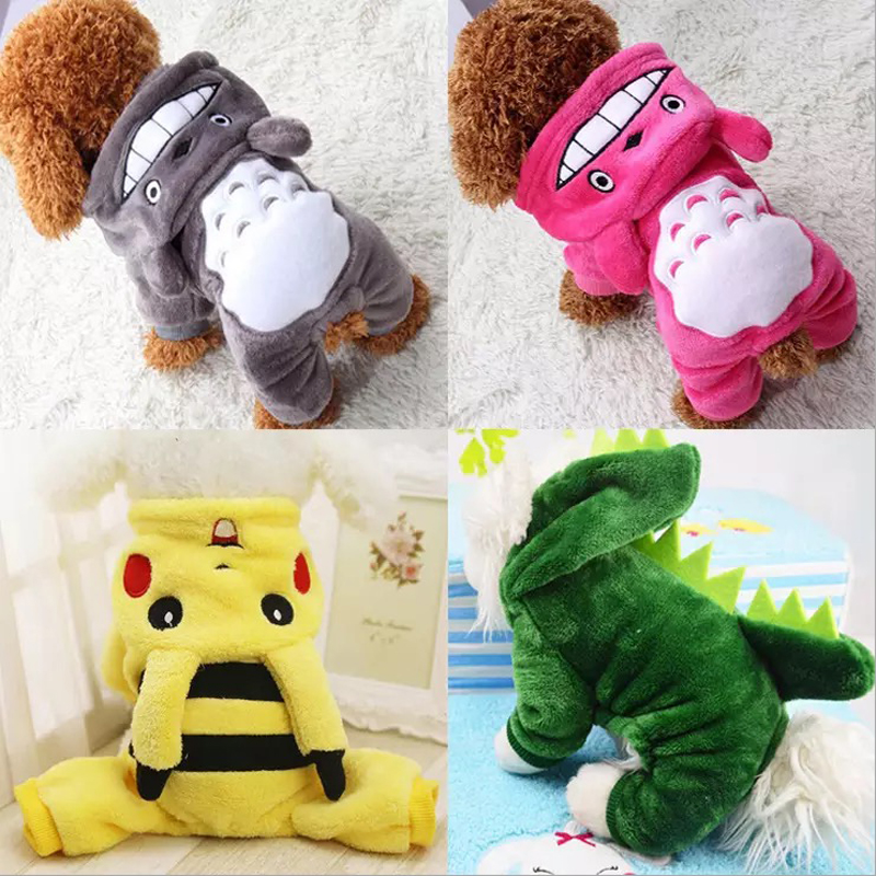 Cartoon Pet Dog Clothes Winter Warm Fleece Chihuahua Coat Jackets Puppy Cat Hoodies Costumes Pug French Bulldog Clothing XS-XXL