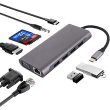 11 in 1 Type c Adapter USB C HUB With RJ45 HDMI VGA SD TF Card Reader USB3.0 ports