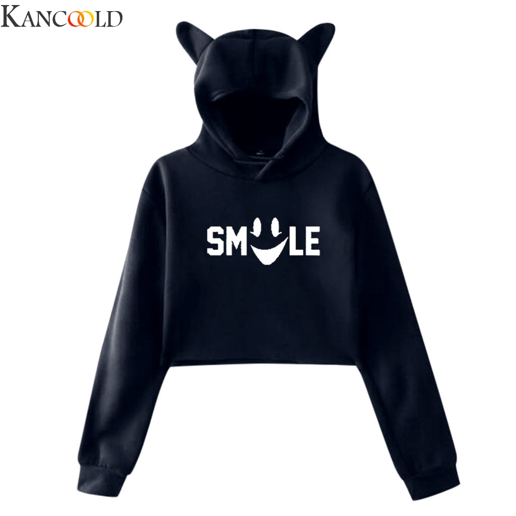 KANCOOLD High Quality Women's Winter Personality Cat Ears Lumbar Loose Fleece Hooded Sweatshirt Street Casual Clothes New