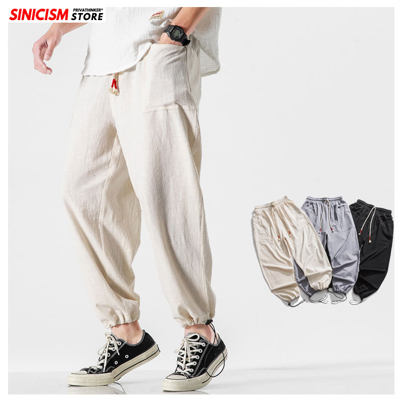 Sinicism Store Male Streetwear Style Casual Joggers Clothes Men Loose Summer Harem Sweatpants Mens 2020 Solid Vintage Trousers