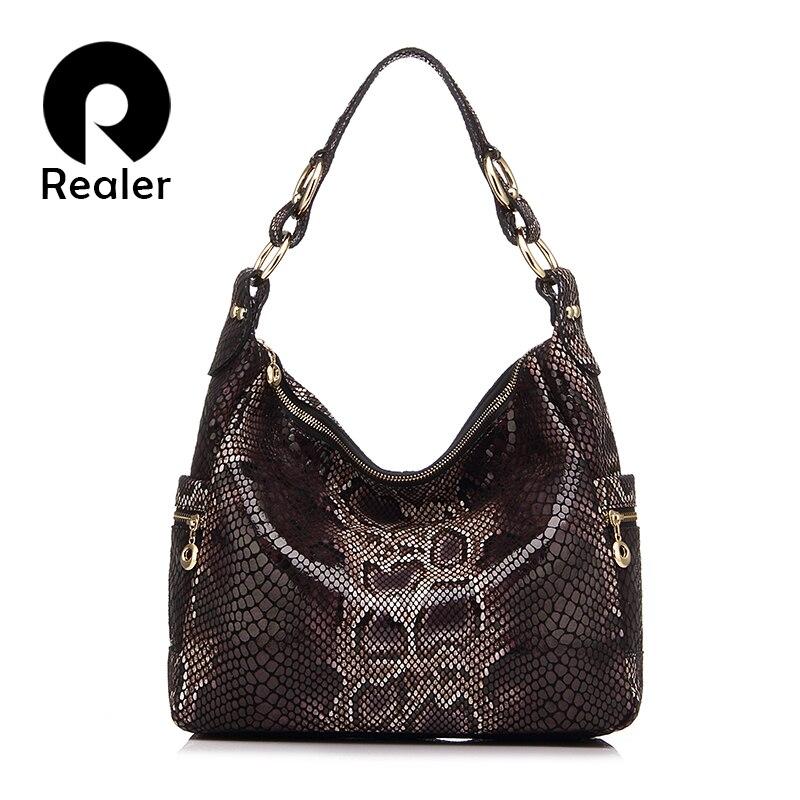 REALER Woman Handbags Genuine Leather Tote Female Classic Serpentine Prints Classic Shoulder Crossbody Bags Ladies Messenger Bag