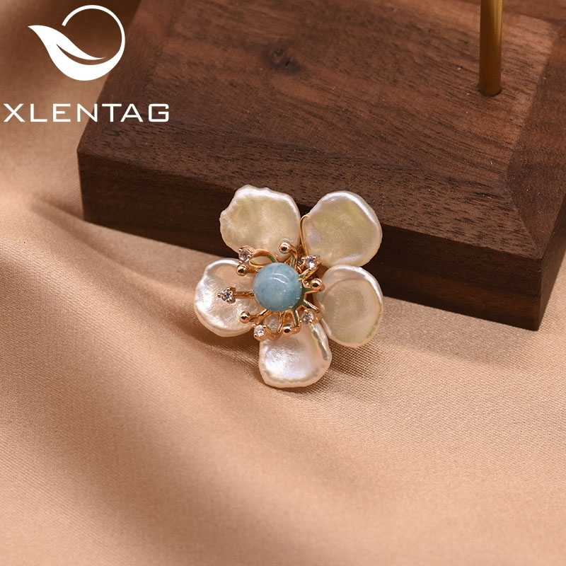 XlentAg ธรรมชาติ 100% Baroque ไข่มุกดอกไม้เข็มกลัด Pin สำหรับหญิงสาว Lovers 'หมั้นของขวัญ Handmade Fine เครื่องประดับ GO0349A