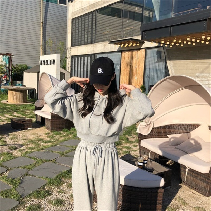 2019 Spring New Style WOMEN'S Two-piece Suit Korean-style Hooded Casual WOMEN'S Sweater Trousers Set