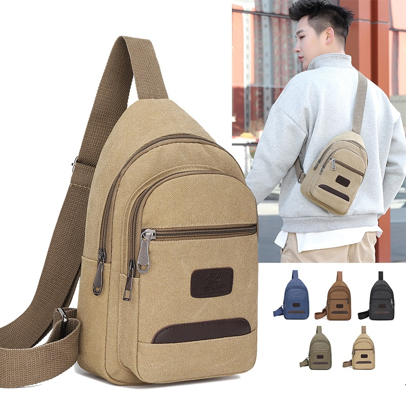 Korean-style Casual Men Chest Pack Sports Canvas Men's Bag Small Bag Multi-functional Outdoor Small Shoulder Bag Fashion