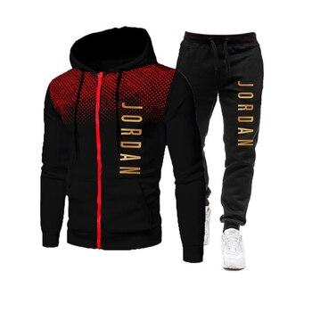 2021 fashion hot autumn/winter new menswear zipper hoodie + pants suit casual sports sportswear 3