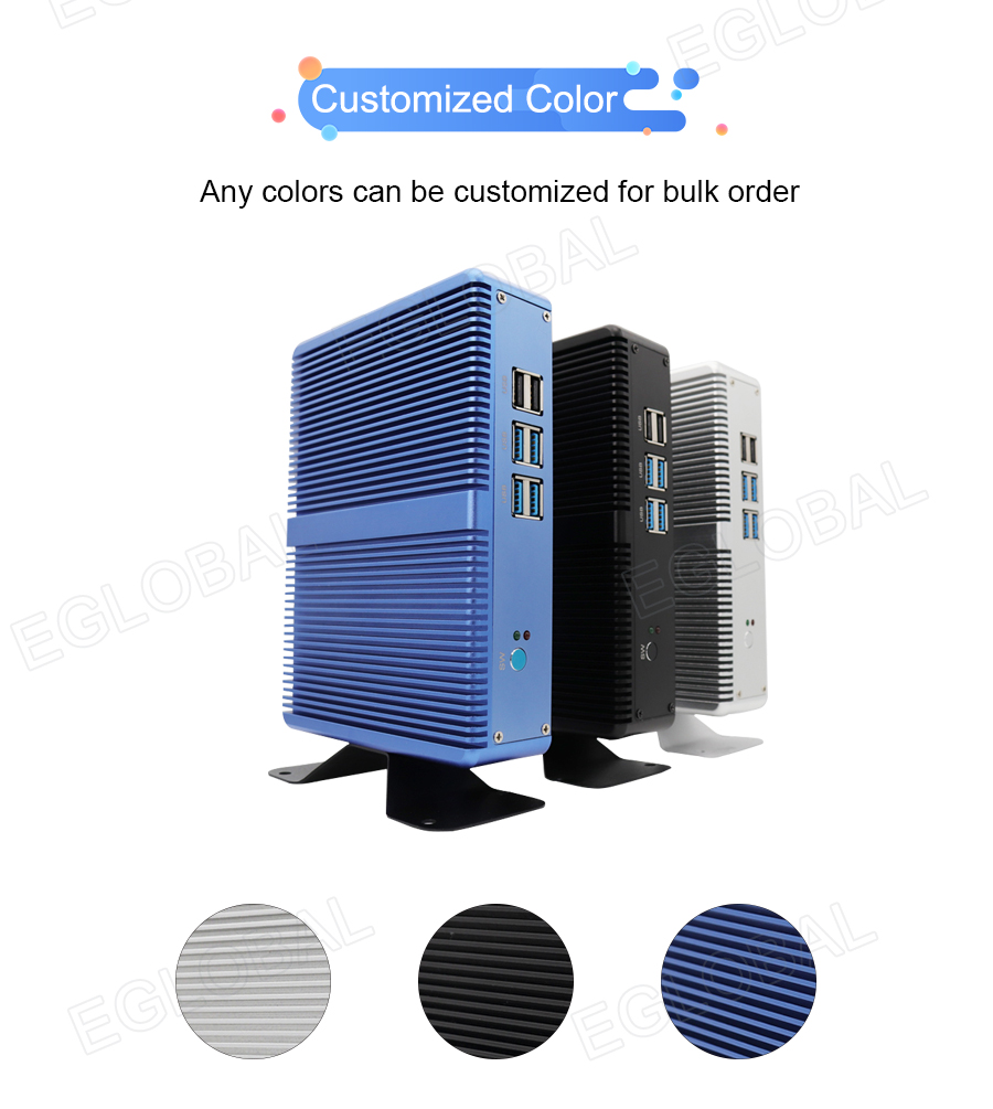4K HTPC DDR3L Fanless Desktop Computer Intel Skybay Core I3 I5 I7 Cheap Price Win10 Linux Mini PC HDMI VGA 300M WiFi 6*USB