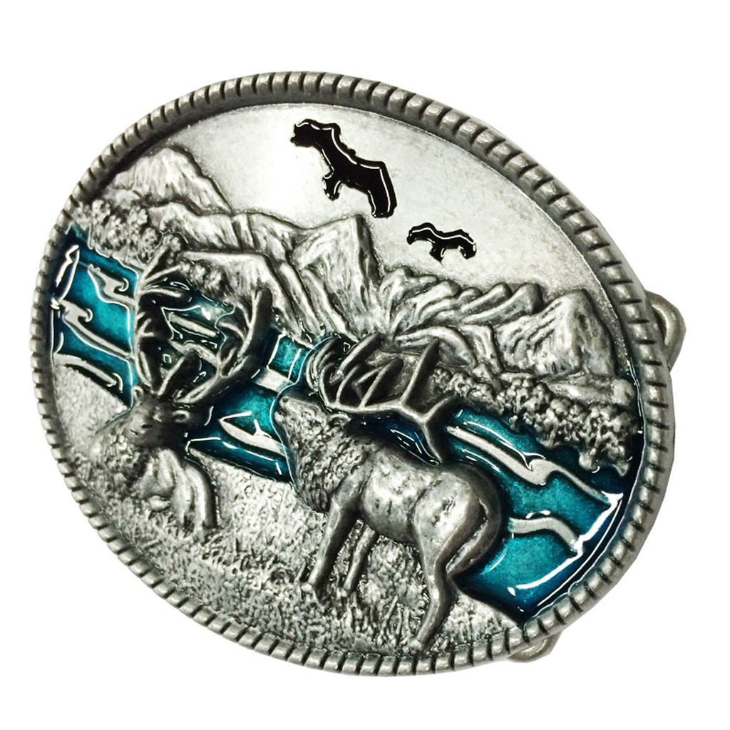 Adult Unisex Buck Hunter Whitetail Deer Emblem Buckmark Belt Buckle Man Belt Buckle With Metal Cowboy Belt