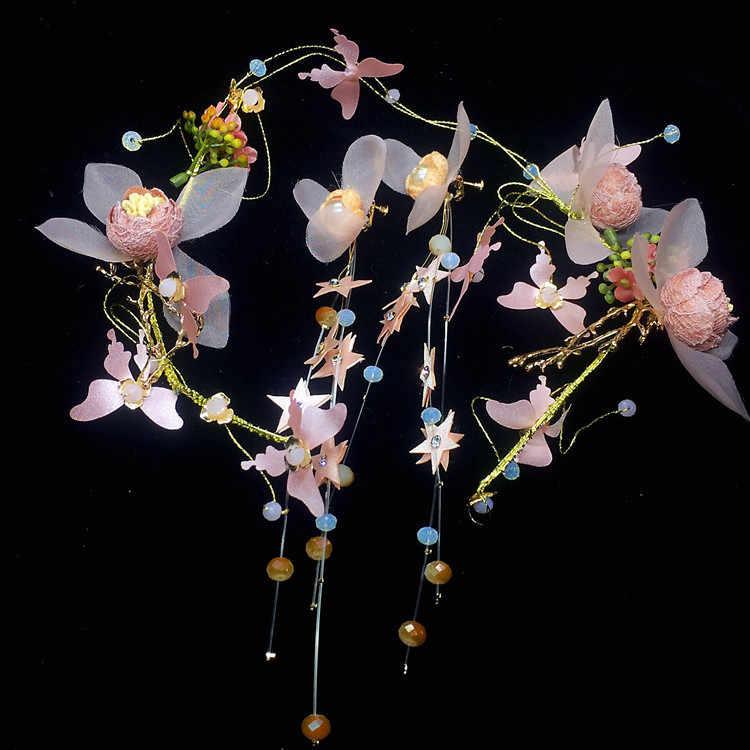 Новые милые свадебные венки на голову Шпилька Украшения + серьги из двух частей путешествия вечерние свадебные аксессуары для волос повязки на голову