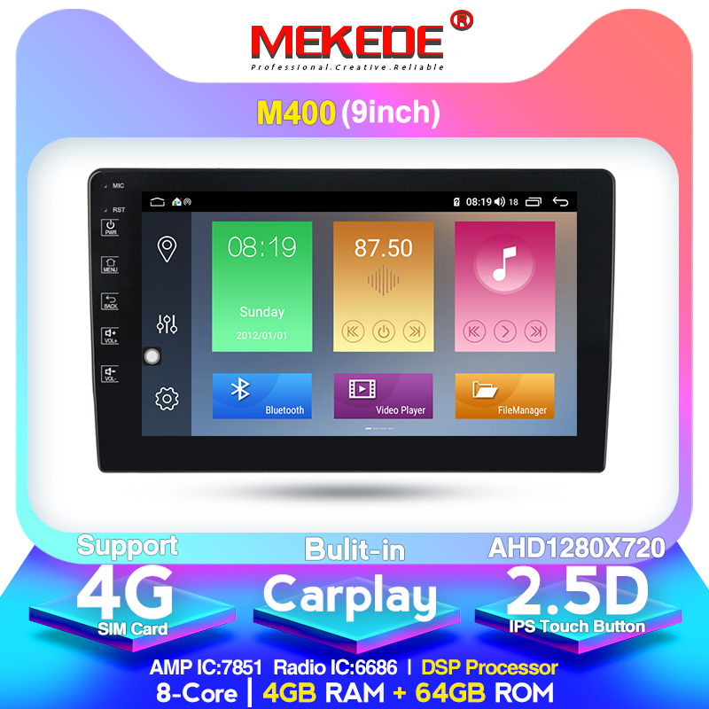4+64G 4G LTE  9853 9/10 Inch Android 10.0 Car Radio Multimedia Playe Universal Auto Stereo Gps Navigation Bluetooth Video Player