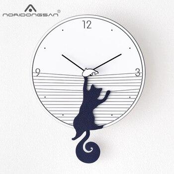 Nordic Wooden Wall Clock Swing Modern Design for Living Room Cute Cat 3D Decoration Pendulum Clock Wall Watch Home Decor