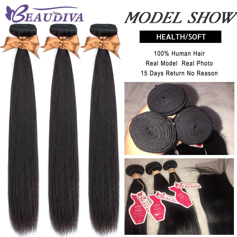 H13c80ba4c38e463283beb5281985aa04y BEAUDIVA Human Hair Bundles With Closure Natural Color Peruvian Straight Hair Weave Bundles With Closure