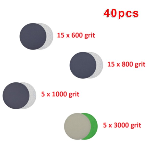 40pcs Hook Loop Sandpapers 600 800 1000 3000 Grit Polishing Woodworking Furniture Mirror Finishing Wet Dry Sanding Discs