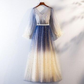 Female New V-neck Cheongsam Handmand Beads Elegant Evening Party Dress Qipao Mesh Dress Bling Pleated Dresses Vestidos De Festa