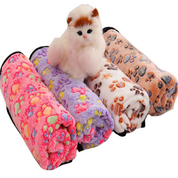 Cozy Soft Warm Pet Blanket Coral Fleece Print Design Cat Blanket Sleeping Bed Sofa Pet Mat For Yorkshire Terrier Pet Accessories image