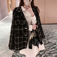 Winter tweed Woman Blazer Plaid Office Ladies Thicken Jackets Cotton Coat Chic Long Suit Female Casual Cardigan Thin Blazer 0107(China)