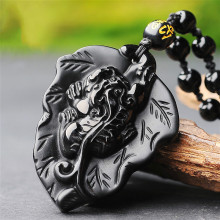 Natural Black Obsidian Pixiu Jade Pendant Necklace Chinese Hand-Carved Fashion Jewelry Accessories Amulet for Men Women Gifts natural black obsidian pixiu safety buckle jade pendant necklace hand carved fashion charm jewelry amulet for men women gifts