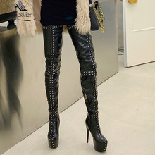 Stiletto-Heels Studded High-Boots Over-The-Knee-Boots Sgesvier Women Wear-Shoes White