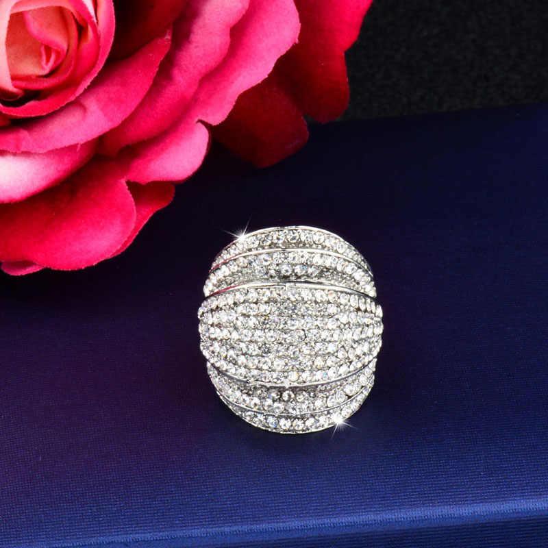 SINLEERY Luxury Big Multi Paved Cubic Zirconia แหวนเงินสีงานแต่งงานเครื่องประดับ Aneis Feminino JZ178 SSK