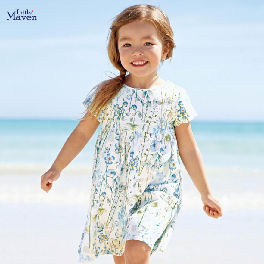 Little maven 2020 new summer baby   girls   clothes brand   dress   kids cotton   flower   print short sleeve   dresses   S0690