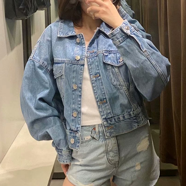 2020 Autumn Women Vintage Blue Short Denim Jacket Solid Bomber Jeans Coat Female Outwear Casual Loose Cowboy Tops Chaqueta Mujer 2