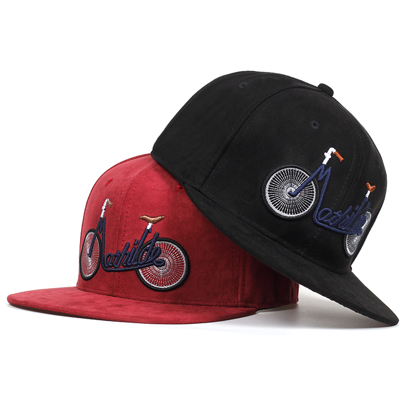 2019 New Casual Suede Baseball Caps For Men Women Embroidery Bicycle Flat Bill Hip Hop Hats Girls Boys Snapback Cap