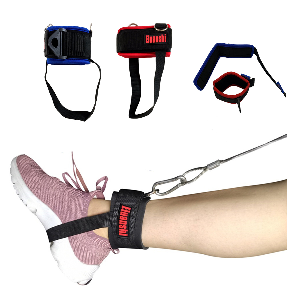 Ankle Strap Wool Leg Gym Cable Attachment Pulley Machine D Ring Weight Lifting
